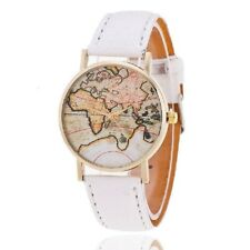 (White) Vintage World Map Atlas Womens Girls Watch Wristwatch Travel Globe UK