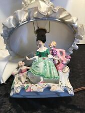 Antique Parlor Capodimonte Porcelain Cherub Dancing Family  Lamp Made in Italy