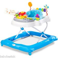NEW STEP MUSICAL ADJUSTABLE BABY FOLDABLE WALKER  ACTIVITY TOY - Blue