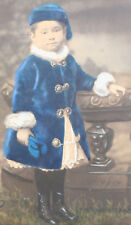YOUNG CHILD IN BLUE COAT AND HAT. MUSEUM QUALITY HAND COLORED ALBUMEN BY WRIGHT
