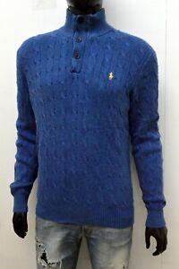 Maglione Uomo Ralph Lauren Taglia XL Pullover Felpa Lana Seta Blu Men's Sweater