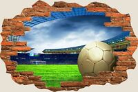 3D Hole in Wall Football Stadium View Wall Stickers Film Art Decal Wallpaper 364