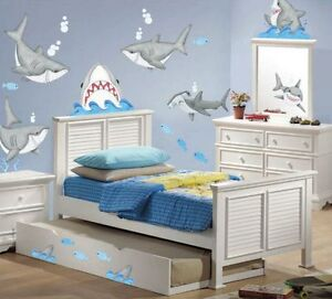 57 SHARKS AND FISH WALL DECALS Kids Ocean Stickers Bedroom Game Toy Room Decor