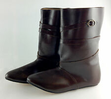 Medieval boots, mid-calf leather boots with brass buckle, reenactment LARP UK
