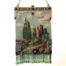 Antique Vintage Beaded Scenic Purse Castle Jewel Frame Germany