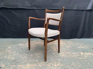 EB1895 Danish Stained Oak & Beige Wool Elbow Chair Vintage Office Retro Desk