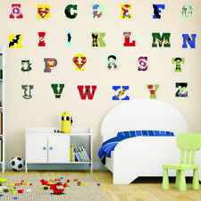 Super Hero English Alphabet Educational Wall Sticker Cartoon Boys Room Decor