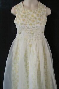 Bonnie Jean Sleeveless White Dress with Yellow Roses Size 10