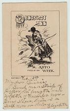 RARE Postcard - Detroit MI 1909 Auto Week - Penobscot Inn - Signed Artist Nash