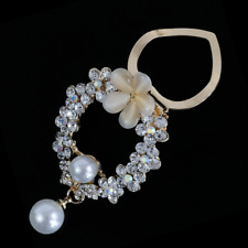 Oval Scarf Clip, Sparkling Scarf Ring, Crystal, Pearl Drop, Flower, Mothers Day