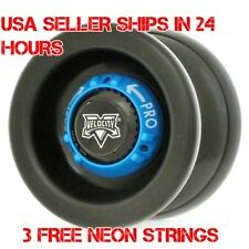 Black Velocity Blue Dial Yo Yo From The YoYo Factory Plus 3 Extra Neon Strings