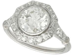 Antique Contemporary Art Deco 2.30 Ct Old Cut Diamond Platinum Cocktail Ring 6.5