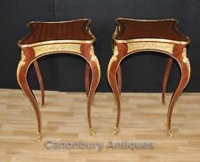 Pair Louis XVI Side Cocktail Tables Cabriole Legs