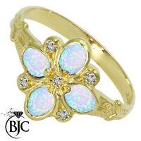BJC 9ct Oro Amarillo corte ovalado ópalo y diamante talla n Anillo R189