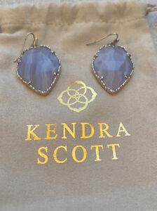 ~RARE~ Kendra Scott Blue Lace Agate Corley Earrings In Silver