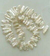 Natural pearl 8x20mm white tooth shape freshwater pearl loose beads 15.5 Strand
