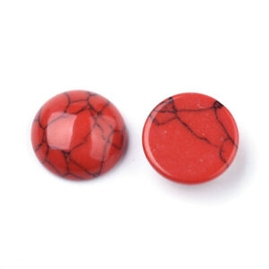 300x Flat Back Turquoise Stone Cabochons Smooth Crackle Red 12mm 16mm 25mm 30mm