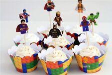 A tema cupcake muffin wrapper & DECORAZIONI PER TORTA DECORAZIONE X 8 LEGO SUPEREROI