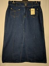"WOMEN'S SKIRT MILLERS LONG DENIM 100% COTTON SIZE 12 LENGTH 33"" NWT FREE POSTAGE"