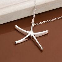 Korean Style Fashion Women's Silver Beautiful Starfish Pendant Necklace Jewelry
