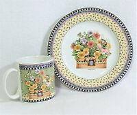 Vtg 90s Sakura Stoneware Debbie Mumm Spring Bouquet Floral Dessert Plate & Mug