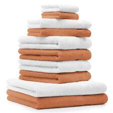 """Lot de 10 serviettes """"Premium"""" orange et blanc, 2 serviettes de bain, 4 serviett"""