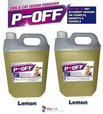 2 X 5L P-OFF PET URINE SMELL ODOUR REMOVER - WEE SMOKE FAECES POO - LEMON
