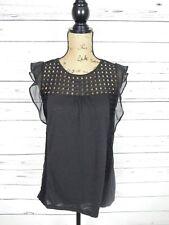 LC Lauren Conrad Women's Size Small Black Short-Sleeve Top
