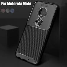 Per Motorola Moto G8 G7 P40 Z3 Play in fibra di carbonio Soft One TPU Gomma Custodia Cover