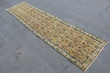 "Vintage Handmade Turkish Anatolian Oushak Distressed Yellow Runner Rug 130""x29"""