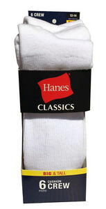Hanes BIG & TALL 6 paris cushion Crew white socks fit shoe size 12-14
