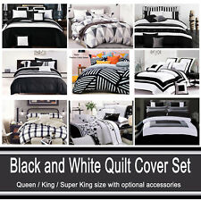 Grey Black and White Quilt Cover Chevron Striped Abstract Doona Cover Set (#2)