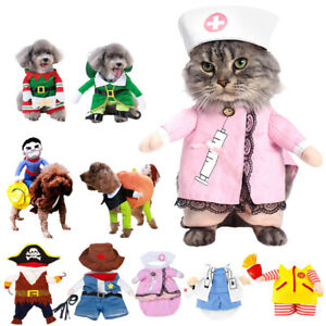 Pets Coat Clothes Small Dog Cat Funny Christmas Party Fancy Dress Costume Outfit