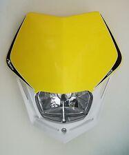 Mascherina Faro Anteriore Moto Rtech Headlight V-FACE Bianco - Giallo Suzuki RMZ