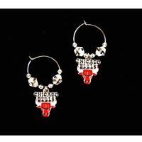 Chicago Bulls Hoop Beaded Earrings