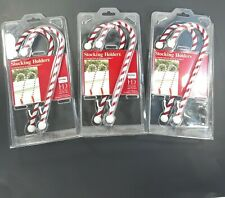 Bed Bath & Beyond Peppermint Candy Cane Stocking Holders Christmas Decor 3 Pair