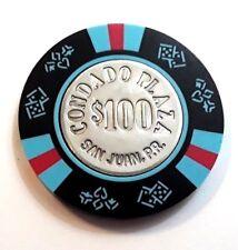 $100 CONDADO PLAZA Black Red Blue Casino Chip SAN JUAN Puerto Rico Bud Jones PR