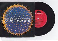 "The Soup Dragon - I'm Free / Lovegod Dub - 1990 7"" picture sleeve single 45rpm"