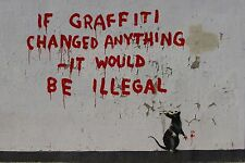"Banksy, If Graffiti Changed Anything..., 10.5""x16"", Giclee Canvas Print"