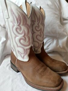Women's Laredo Mesquite Western Cowboy Boots #5621 Size 8.5 Embroidered White