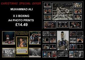 MUHAMMAD ALI SIGNED X 3 SPECIAL OFFER A4 PHOTO PRINTS BOXING MEMORABILIA