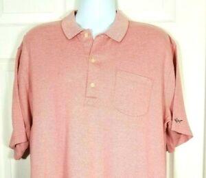 Greg Norman Mercerized Cotton Golf Polo Shirt Coral Large