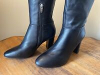 Marc Fisher Zimra Leather Tall Block Heeled Riding Boots Women's 8 W Black 8W