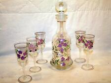 VTG Decanter Set w/ 5 Goblets Hand Painted Enameled Dogwood Flowers Pink & White