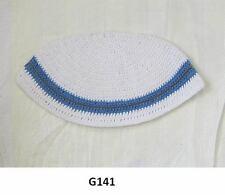 Kippah Freak White/Blue Kippa Yamaka Kippot Frik Kippot Judaica Yarmulke Crochet