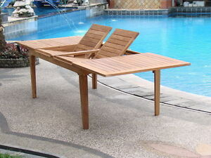 """Grade-A Teak Wood Caranas 122"""" Rectangle Double Extension Dining Table Outdoor"""