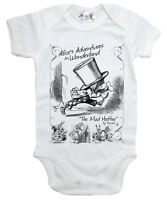 "Alice Wonderland Baby Bodysuit ""The Mad Hatter"" Babygrow Vest Clothes"
