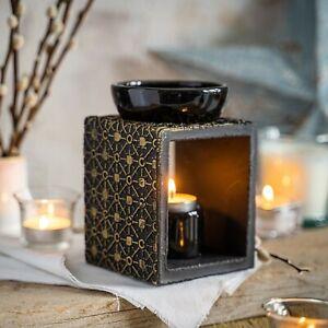 Large Black Gold Wax Melter Oils Burner Aromatherapy Fragrance Diffuser Tealight