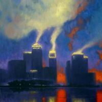 "BEAUTIFUL ORIGINAL MARK HARRISON ""Canary Wharf""  CITY OF LONDON OIL  PAINTING"