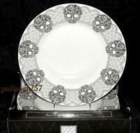 222 Fifth Skull Lace 4 DINNER PLATES Goth Halloween, Black & White, NEW IN BOX